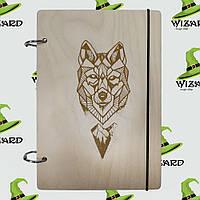 Скетчбук с деревянной обложкой А5 не лак Волк геометрия, фото 1