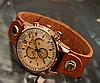 Женские винтажные наручные часы (кварцевый механизм, кожаный ремешок)