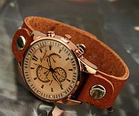 Женские винтажные наручные часы (кварцевый механизм, кожаный ремешок) , фото 1