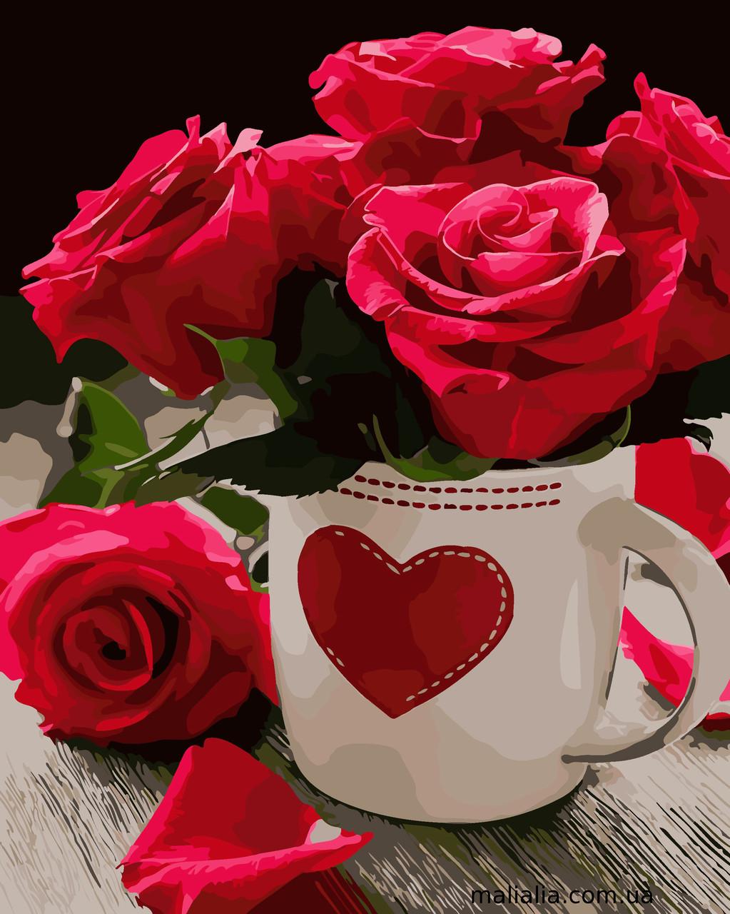 Картины по номерам 40*50 см В КОРОБКЕ Яркие розы Artstory