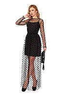 Вечернее платья-двойка из микродайвинга и стрейч-сетки, фото 1