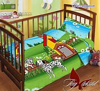 Детское постельное белье в кроватку для девочек и мальчиков Далматин с простыней на резинке