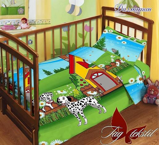 Детское постельное белье в кроватку для девочек и мальчиков Далматин с простыней на резинке, фото 2