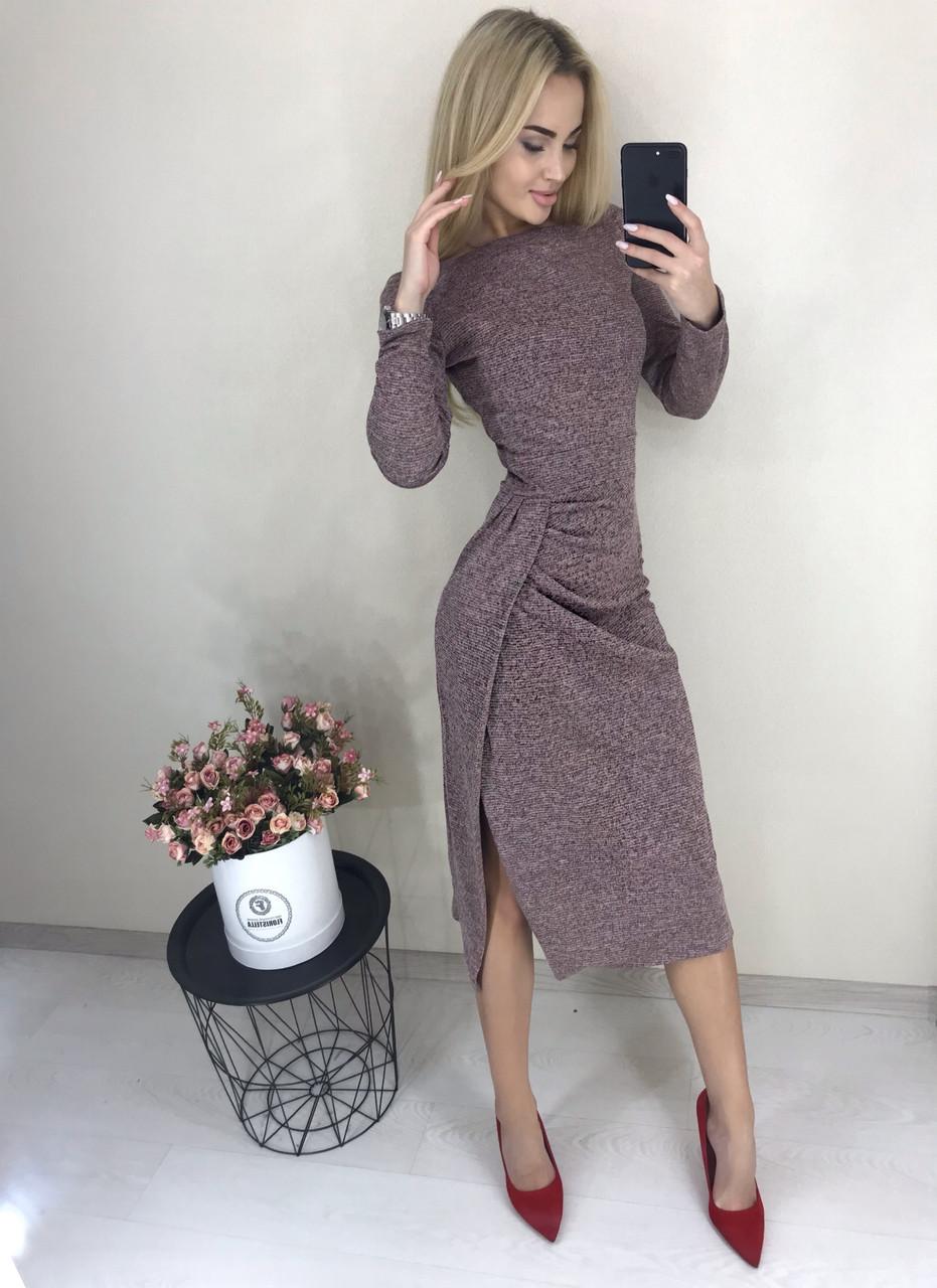 Теплое женское платье с длинным рукавом и разрезом ft-425 розовое