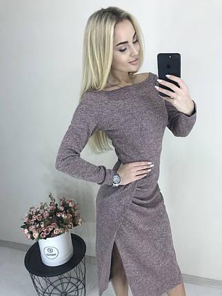Теплое женское платье с длинным рукавом и разрезом ft-425 розовое, фото 2