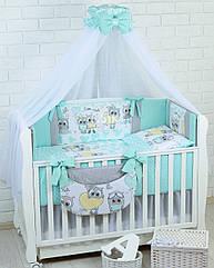 Комплект постельного белья Asik Совы с сердечками серо-мятного цвета 8 предметов (8-305)