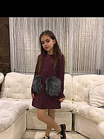 Платья «мех»бордо