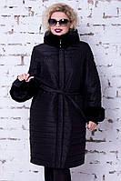 Женский черный пуховик большого размера Snow beauty   №1817, фото 1