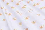 """Хлопковая ткань с глиттерным """"Золотые короны"""" на белом (№1652а) , фото 5"""