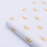 """Хлопковая ткань с глиттерным """"Золотые короны"""" на белом (№1652а) , фото 6"""
