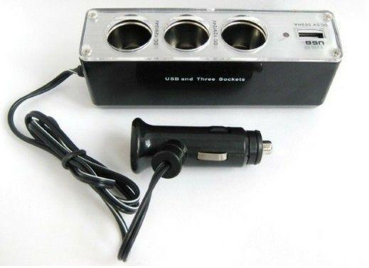 Разветвитель прикуривателя (тройник) WF-0096 с USB