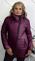 """Зимняя женская теплая куртка на молнии с капюшоном """"Polaris"""" бордовая : 46-54 размеры"""
