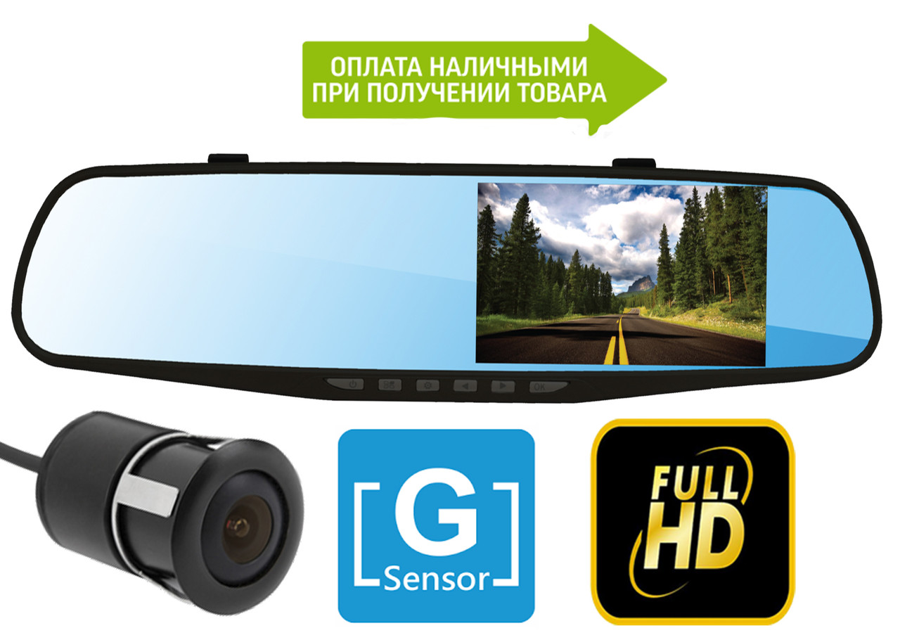 Зеркало видеоРегистратор Blaсkbox V2 на 2 камеры, FullHd, G-Sensor +камера