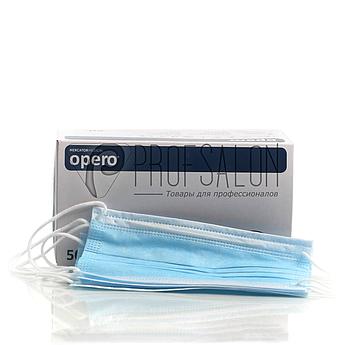 Маска медицинская, 3-х слойные, с гибким носовым фиксатором Opero Mercator Medical 50 шт, голубые