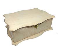Заготовка для декупажа шкатулка Мамины сокровища ажурная без перегородок 25x33х11см фанера