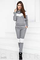 Женский теплый спортивный костюм серо-белого цвета