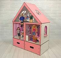 Домик «Особняк Барби» 3 комнаты/ 2 этажа + обои + шторки + мебель + текстиль + BOX