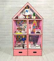 Домик «Большой Особняк Барби» 5 комнат/ 3 этажа + обои + шторки + мебель + текстиль + BOX