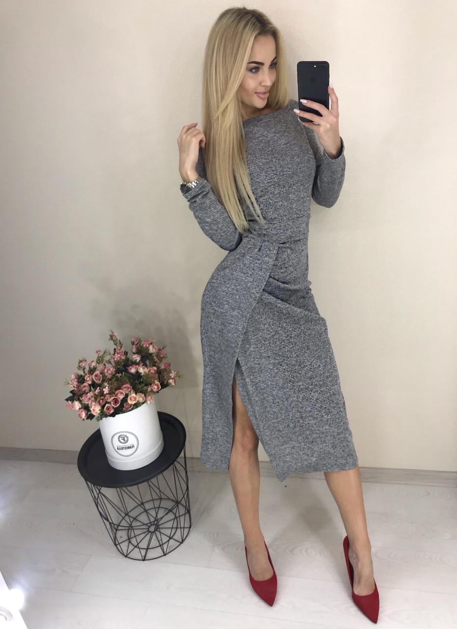 4842136e531 Теплое женское платье с длинным рукавом и разрезом ft-425 серое -  FashionVerdict - интернет