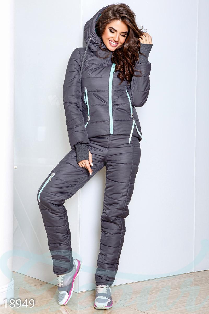 Теплый синтепоновый спортивный костюм серо-мятного цвета