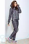 Теплый синтепоновый спортивный костюм серо-мятного цвета, фото 2