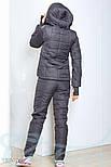 Теплый синтепоновый спортивный костюм серо-мятного цвета, фото 3