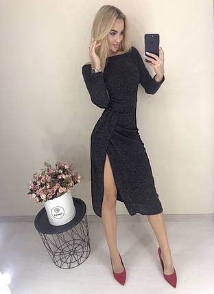 Теплое женское платье с длинным рукавом и разрезом ft-425 черное, фото 2