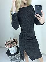 Теплое женское платье с длинным рукавом и разрезом ft-425 черное, фото 3