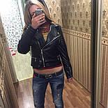 """Женская модная куртка из кожзама (эко-кожа) """"Молния"""", фото 5"""