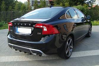 Юбка диффузор обвес заднего бампера Volvo S60 стиль R design (10-14)
