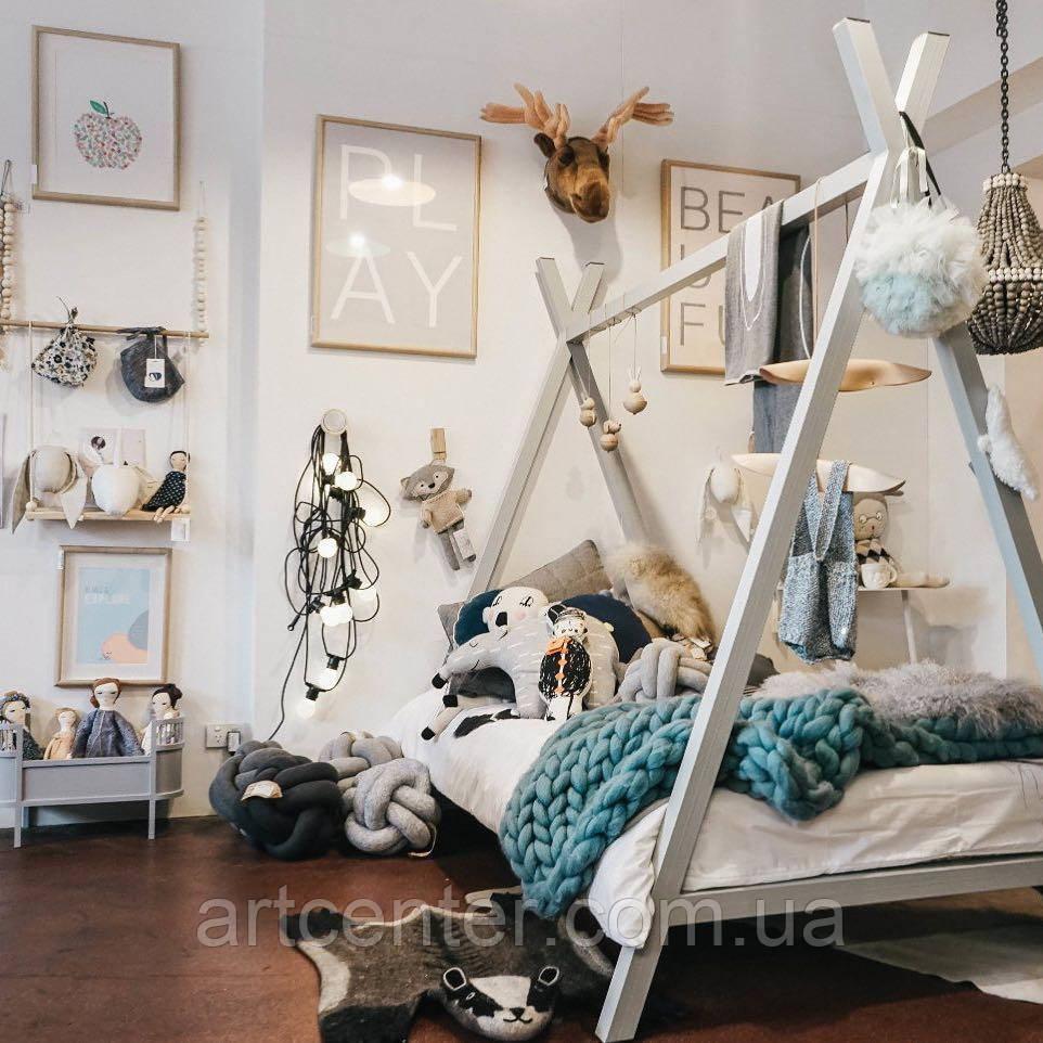 Кроватка-домик напольная,  «Вигвам» , белая