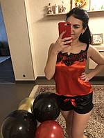 Красная пижамка с шортиками декорирована роскошным кружевом  (0312/5)