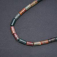 Бусины натуральный камень Яшма разноцветная цилиндр d-8х17мм нитка L-39 см