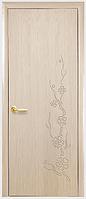 Двери межкомнатные Сакура ПГ с гравировкой Ясень ПВХ DeLuxe