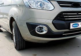 Накладки на противотуманки (2 шт, пласт) - Ford Custom 2013+ гг.
