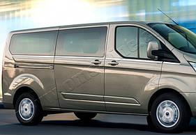 Нижние молдинги стекол длинная база (8 шт., нерж) - Ford Custom 2013+ гг.