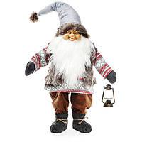 Мягкая новогодняя игрушка Санта с фонариком 105см