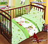 Детское постельное белье в кроватку для девочек и мальчиков Мой ангелочек зеленое