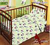 Детское постельное белье в кроватку для девочек и мальчиков Панда зеленое