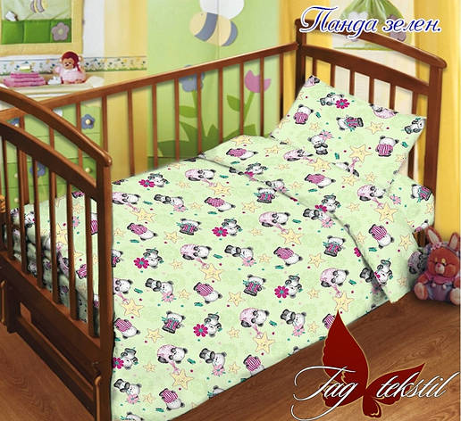 Детское постельное белье в кроватку для девочек и мальчиков Панда зеленое, фото 2