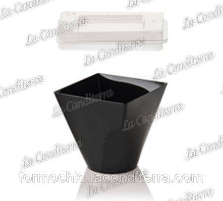 Черный квадратный стакан с крышкой «Prestige» 425-СВ+447-11 (200 мл)