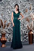 89d09f4d366005e Выпускное зеленое вечернее изумрудное атласное платье - рыбка с  рукавчиком-крылышко (Т-2018
