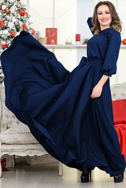 """Синее длинное платье  """"Ванесса"""""""