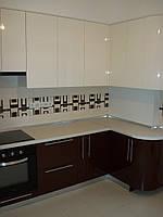 Кухня Бежевая, Коричневая, угловая, глянец, в частный дом