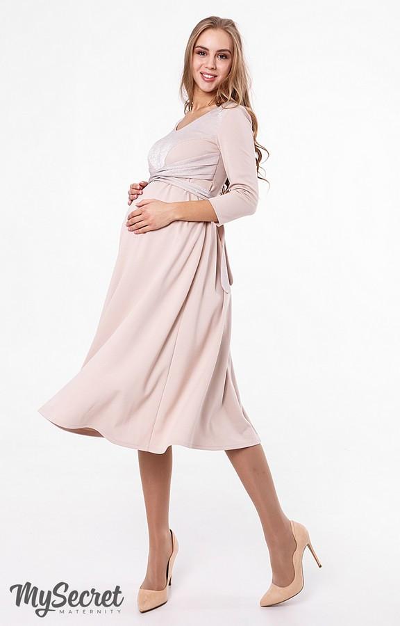 ee92278365d6d24 Вечернее платье для беременных и кормящих мам ELIZABETH, бежевое - Интернет- магазин