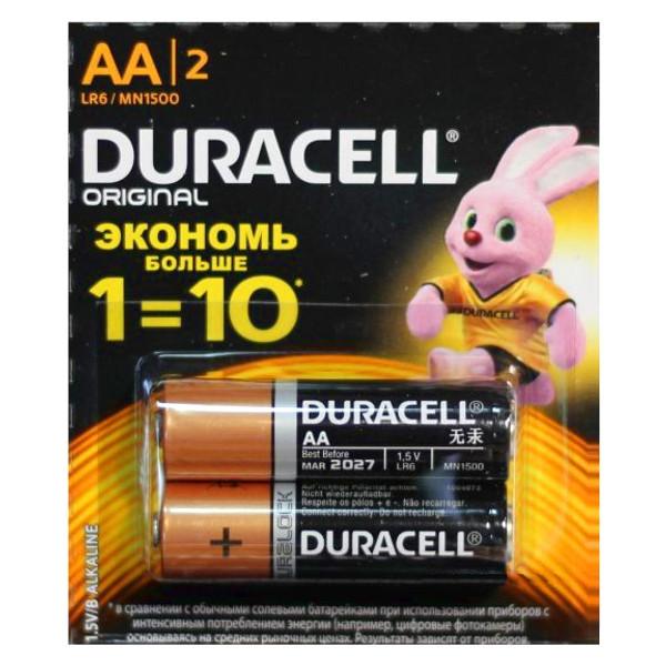 Батарейки Duracell Alkaline LR6 щелочная комплект 2 шт
