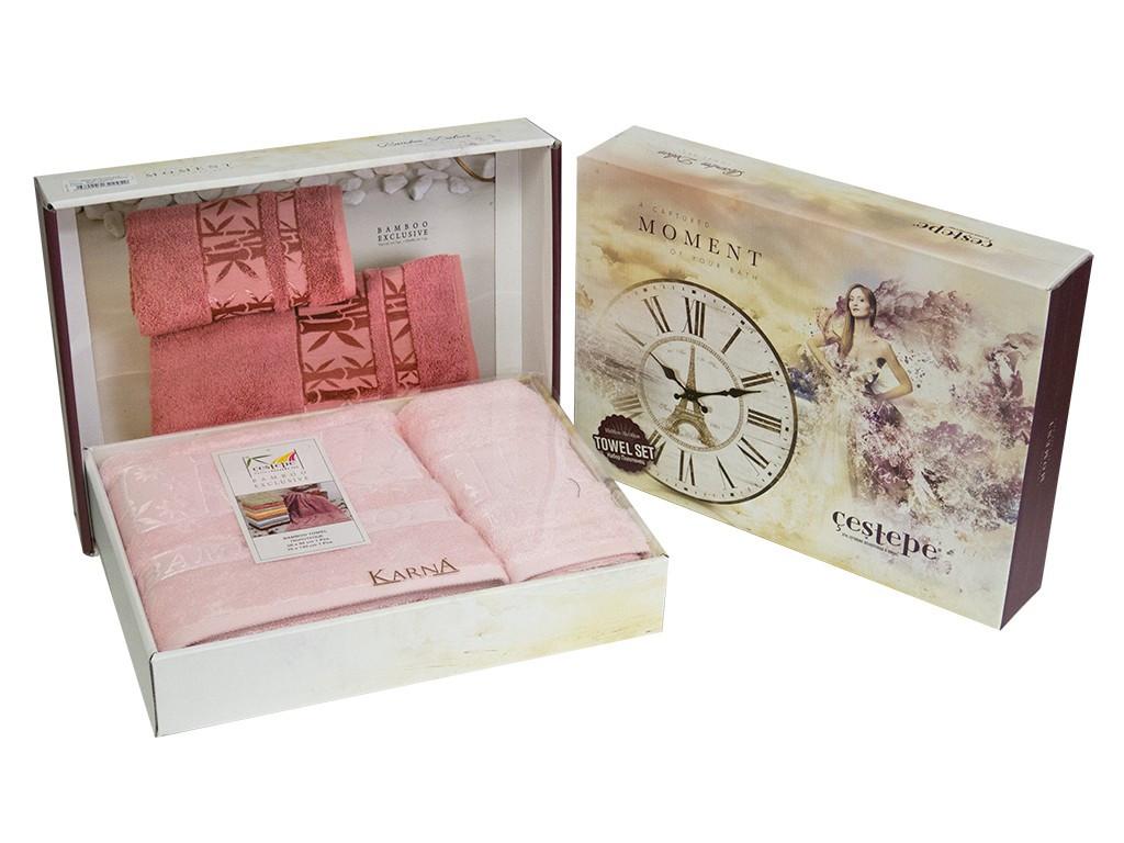 Набор махровых полотенец Cestepe Bamboo 50х90 + 70х140 см розовый (2 предмета)