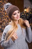 Тепла зимова коричнева шапка Drims