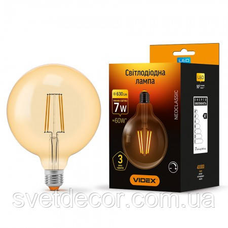 Лампа Эдисона VIDEX светодиодная LED Filament G125 FAD 7W E27 2200K диммерная