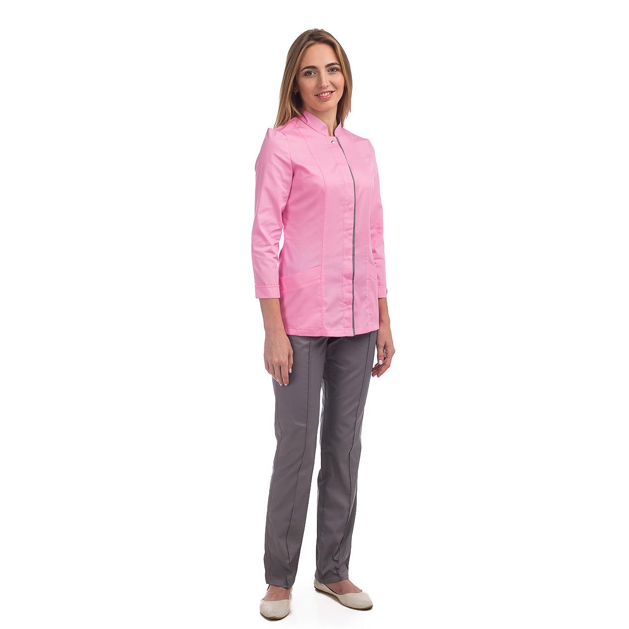 Медичний жіночий костюм Сакура рожевий-сірий 40-54